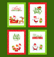 christmas cards collection with santa claus vector image vector image