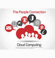 cloud computing world people connetting red vector image