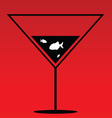 fish in martini on red vector image vector image