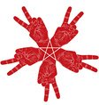 Five victory hands abstract symbol with pentagonal vector image vector image