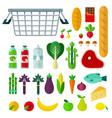 food basket flat set with corn cabbage juice vector image vector image