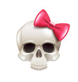 girl skull with pink bow isolated on white vector image vector image