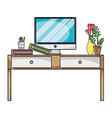 grated wood desk object with drawers and computer vector image