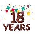 greeting card for eighteen year in modern flat vector image vector image