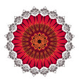 indian ornament circular rosette color red vector image