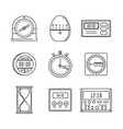kitchen timer icons set outline style