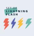 lightning symbols set on white background flash vector image
