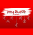 merry christmas red background with snowflake and vector image