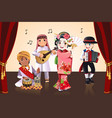 multi-ethnic kids performing vector image vector image