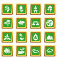nature icons set green square vector image vector image