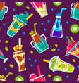 pattern different cocktails in glasses and vector image