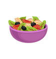 purple ceramic bowl with fresh salad organic and vector image
