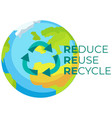recycle symbol with arrows on planet earth vector image vector image