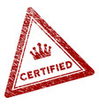 scratched textured certified triangle stamp seal vector image