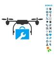 Service Drone Flat Icon with Bonus vector image vector image