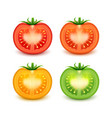 set red green orange yellow fresh cut tomatoes vector image vector image