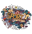Sport hand lettering and doodles elements vector image