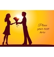 Sunset silhouettes of man and woman vector image vector image