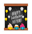 Sweet cupcakes of birthday and balloons air