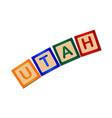 utah wooden block letters vector image vector image