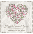 valentine card with heart of flowers vector image vector image