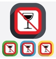 Wine glass sign icon Do not drink Alcohol vector image vector image