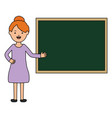 young female teacher with chalkboard vector image