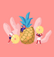 young woman sitting on huge pineapple tiny people vector image vector image