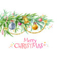 christmas tree branch with decor from toys balls vector image