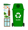 green garbage can with glass vector image