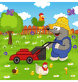 mole cutting grass lawn mower vector image
