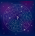 round labyrinth on space background find your way vector image