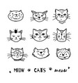 cat doodle hand drawn cats icons collection vector image