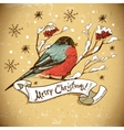 Christmas Greeting Card with bullfinches vector image