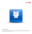 alaram clock icon - 3d blue button vector image