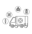 ambulance with medical set icons vector image vector image