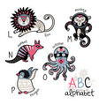 animals alphabet l - p for children vector image vector image