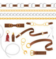 belt elements metal chains pendant and braid vector image vector image