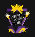birthday explosive gift with candles vector image vector image