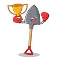 boxing winner shovel character cartoon style vector image vector image