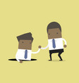 businessman helping his friend from hole vector image vector image