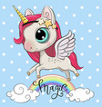 cartoon unicorn is on the rainbow vector image