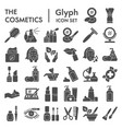 cosmetics glyph icon set makeup symbols vector image