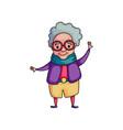cute dancing senior woman in purple jacket with vector image