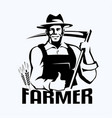 farmer stylized portrait organic products logo vector image vector image