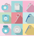 floss dental brushing teeth icons set flat style vector image