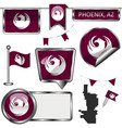 glossy icons with flag of phoenix vector image vector image