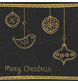 Greeting card with ethnic gold Christmas tree vector image vector image