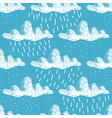 hand-drawn white cumulus clouds with rain and snow vector image
