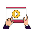 hands holding tablet video player vector image vector image